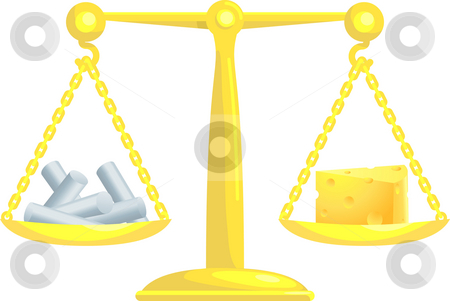 Balancing Or Comparing Chalk With Cheese stock photo, A concept vector illustration showing chalk and cheese on scales. Attempting to compare or balance chalk and cheese. Balancing conflicting priorities. by Christos Georghiou