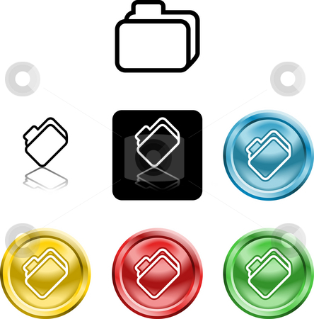 File document folder icon symbol stock photo, Several versions of an icon symbol of a stylised file folder by Christos Georghiou