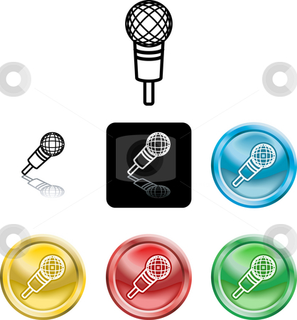 Microphone icon symbol stock photo, Several versions of an icon symbol of a stylised microphone by Christos Georghiou