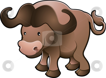 Cute African Cape Buffalo Vector Illustration stock photo, A vector illustration of a sweet African cape buffalo by Christos Georghiou