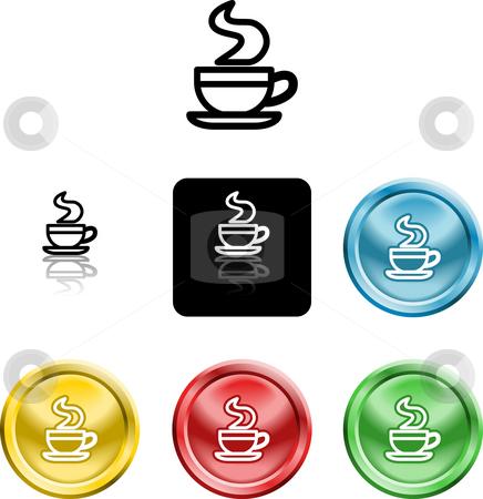Coffee cup icon symbol stock photo, Several versions of an icon symbol of a stylised coffee cup by Christos Georghiou