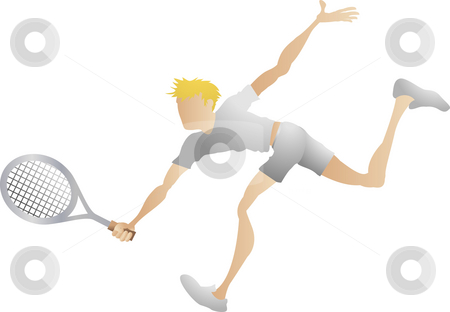 Tennis player  stock photo, An illustration of a stylised tennis player lunging for a shot by Christos Georghiou