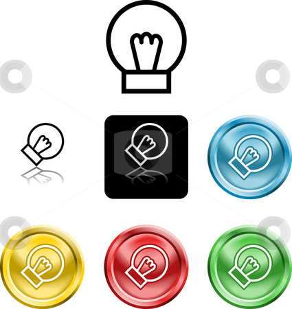 Lightbulb icon symbol stock photo, Several versions of an icon symbol of a stylised lightbulb by Christos Georghiou