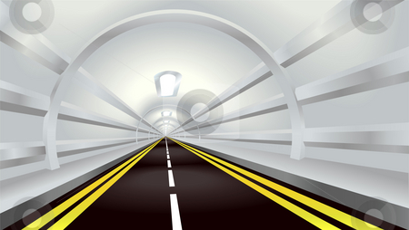 Tunnel stock photo, Illustration of perspective view down a road tunnel disappearing into the distance by Christos Georghiou