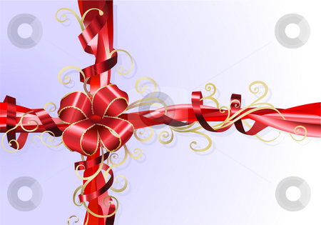 Gift ribbon and bow background stock photo, An Illustration of an abstract stylised gift ribbon and bow background. by Christos Georghiou