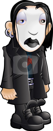 Teen Youth Cliques Goth stock photo, Vector illustration of a teenager, part of the goth clique or tribe by Christos Georghiou