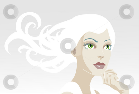 Beautiful ethereal tranquil woman stock photo, A vector illustration of a beautiful, ethereal, tranquil woman looking out of frame by Christos Georghiou