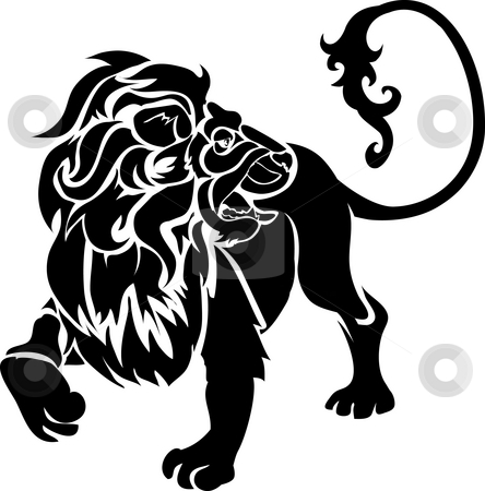 Lion stock photo, Monochrome illustration of a stylised lion by Christos Georghiou