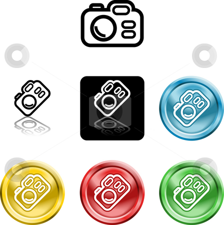 Camera icon symbol stock photo, Several versions of an icon symbol of a stylised camera by Christos Georghiou