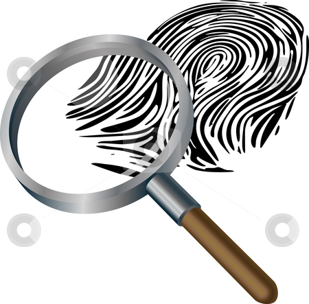 Spyglass and fingerprint stock photo, An illustration of a spyglass magnifying a fingerprint by Christos Georghiou