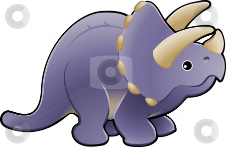 Cute triceratops dinosaur illustration stock photo, A vector illustration of a cute friendly triceratops dinosaur by Christos Georghiou