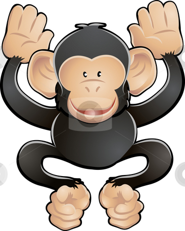 Cute Chimp Vector Illustration stock photo, A vector illustration of a cute friendly chimpanzee by Christos Georghiou