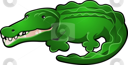 Alligator or Crocodile Cartoon stock photo, A Cute Alligator or Crocodile Cartoon Character Illustration by Christos Georghiou