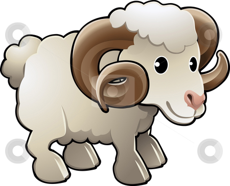 Horned Ram stock photo, A cute ram sheep farm animal vector illustration by Christos Georghiou