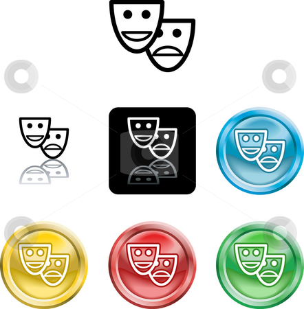 Stylised comedy and tradgedy masks stock photo, Several versions of an icon symbol of a stylised set of masks by Christos Georghiou