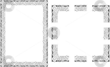 Rococo Style border frame stock photo, A Vector illustration of Rococo Style border frame; comes with seamlessly tillable component parts so you can make a frame to any size or aspect ratio. by Christos Georghiou