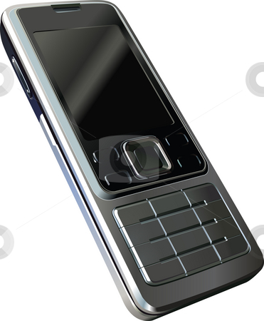 Mobile Phone stock photo, An illustration of a silver metallic mobile phone by Christos Georghiou