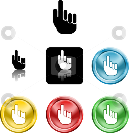 Hand icon symbol stock photo, Several versions of an icon symbol of a stylised hand pointing finger upwards by Christos Georghiou