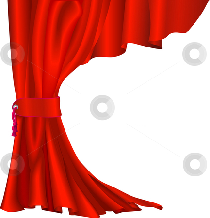 Red velvet curtain stock photo, Illustration of  red velvet curtain with tassel like those in theatres or cinemas by Christos Georghiou