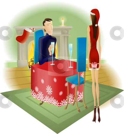 Giving a surprise Christmas present to partner stock photo, A beautiful woman giving a surprise romantic Christmas gift to her handsome partner by Christos Georghiou