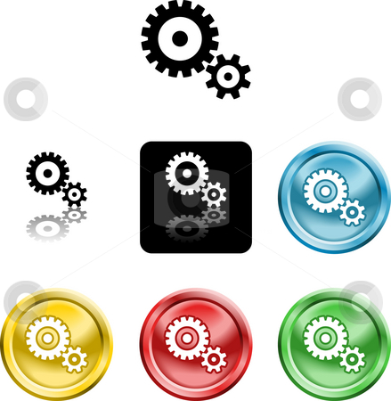 Cog gears icon symbol icon stock photo, Several versions of an icon symbol of stylised cog gears by Christos Georghiou