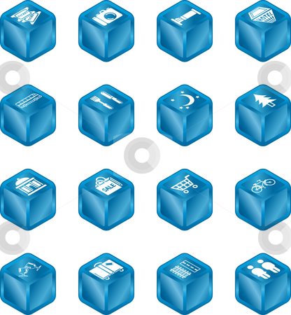 Tourist Locations Cube Icon Set  stock photo, Cube icon set relating to city or location information for tourist web sites or maps etc. by Christos Georghiou
