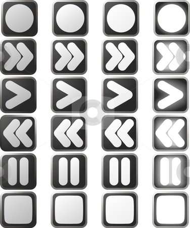 Clean White control panel icons and states stock photo, A set of white control panel button icons in various rollover state versions by Christos Georghiou