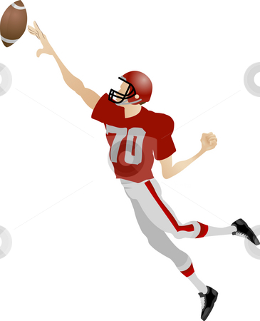 American footballer stock photo, An illustration of an American footballer jumping to try and catch a ball by Christos Georghiou