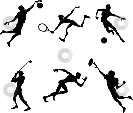 Sports players silhouettes  stock photo, A set of stylised Sports players silhouettes by Christos Georghiou