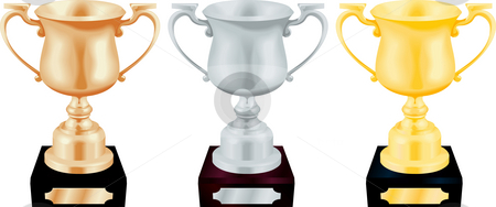 Gold Silver and Bronze Trophy Cups Vector Illustration stock photo, Vector illustration of gold silver and bronze trophy cup by Christos Georghiou