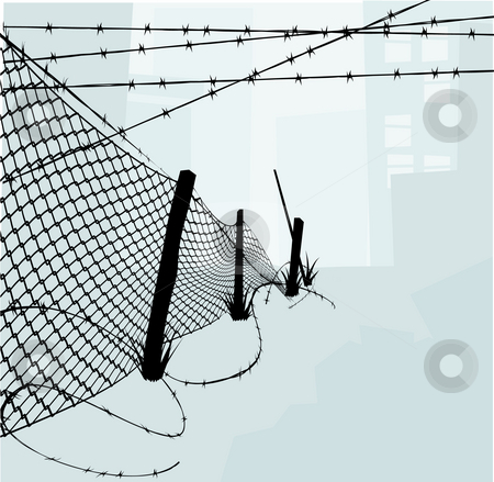 Chain Link Fence and Barbed Wire Vector Illustration stock photo, Chain link fence and barbed wire vector illustration background or design elements. Silhouette elements are on separate layers in vector file so easily separated. by Christos Georghiou