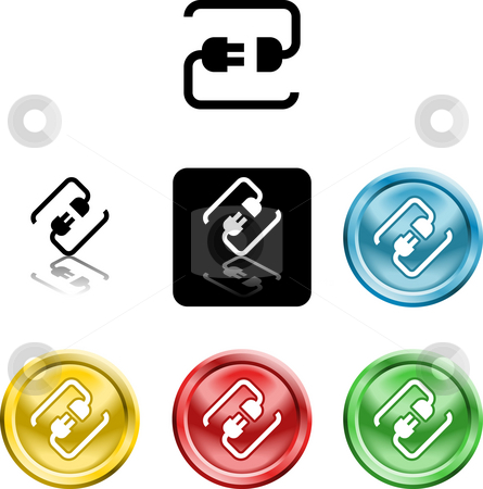 Connecting cable plug icon symbol stock photo, Several versions of an icon symbol of a stylised plug connecting by Christos Georghiou