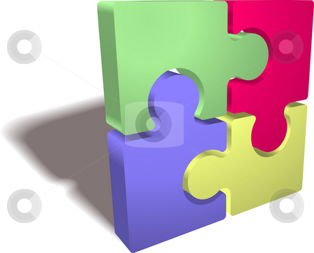 Jigsaw puzzle stock photo, An illustration of a completed jigsaw puzzle icon by Christos Georghiou