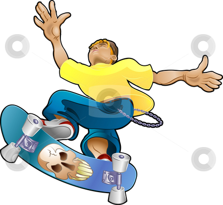 Teen Youth Cliques Skater stock photo, Vector illustration of a teenager, part of the skater clique or tribe by Christos Georghiou