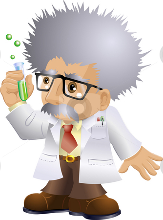 Nutty Professor stock photo, Illustration of a kooky professor or scientist holding a test-tube by Christos Georghiou