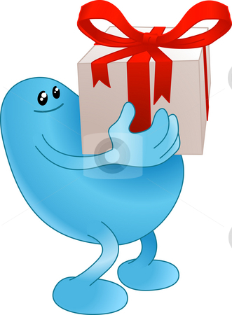 Gift beanie person stock photo, Blue beanie man carrying a very nicely wrapped gift by Christos Georghiou