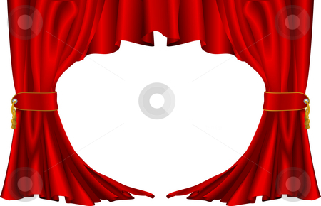Red theatre style curtains stock photo, An illustration of a pair of red theatre style curtains by Christos Georghiou
