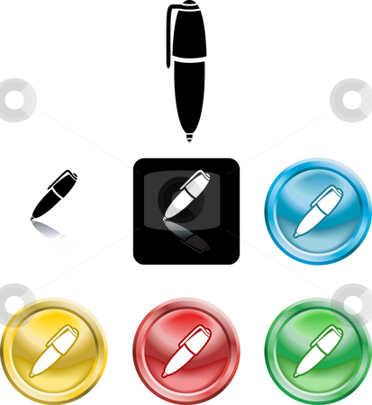 Pen symbol icon stock photo, Several versions of an icon symbol of a stylised pen by Christos Georghiou