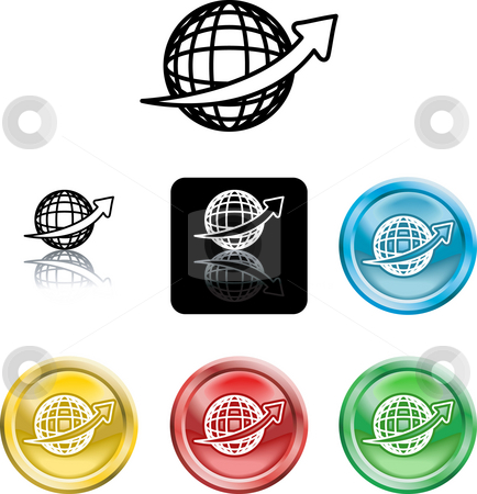 Wire Globe Icon Symbol stock photo, An icon symbol of a stylised wire frame globe with arrow swooshing ronud it by Christos Georghiou