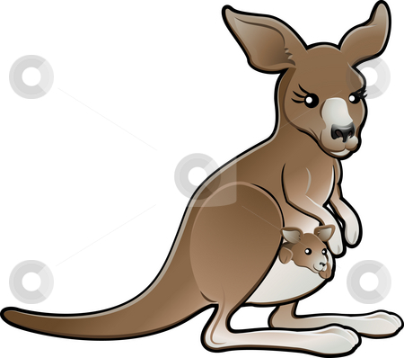 Cute Vector Kangaroo Illustration stock photo, A cute vector illustration of a kangaroo with a joey in its pouch by Christos Georghiou