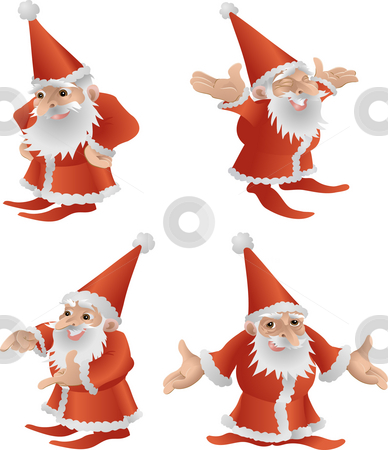 Father Christmas illustration. stock photo, An illustration of a very cool cute Father Christmas in four different poses by Christos Georghiou