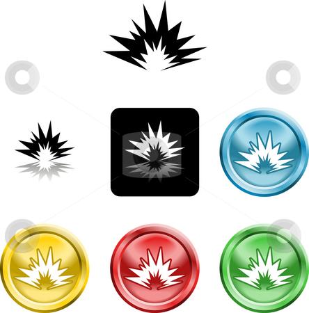 Explosion icon symbol stock photo, Several versions of an icon symbol of a stylised explosion by Christos Georghiou