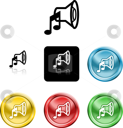 Speaker sound media icon symbol stock photo, Several versions of a stylised speaker sound media icon symbol by Christos Georghiou