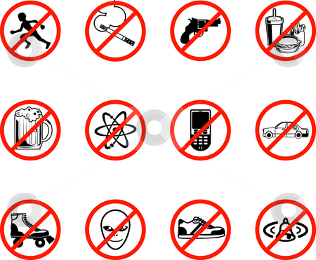 No Icons  stock photo, A series set of icons all outlining things that are prohibited or are calling on to be banned! E.g. No running, no smoking, no firearms, no eating, no alcohol, no phones, no sneakers etc. by Christos Georghiou
