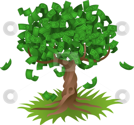 Money growing on tree stock photo, Conceptual vector illustration. Money growing on a tree, representing perhaps green environmental investments or the growth of any savings or investment. by Christos Georghiou