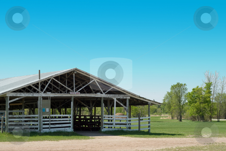 Empty Cattle Barn stock photo, An empty cattle barn outside on a sunny day by Richard Nelson