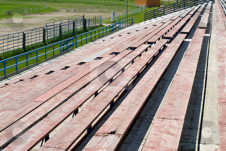 Bleachers stock photo, View of a set of bleachers from the top level by Richard Nelson