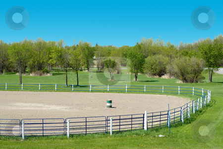 Rodeo Grounds stock photo, High view of some empty rodeo grounds on a sunny day by Richard Nelson