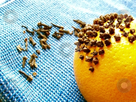 Cloves and Orange stock photo, Image of a bright orange with cloves on a bright blue cloth.  Horizontal orientation. by Jill Oliver