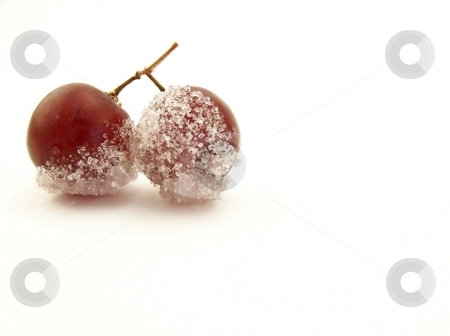 Sugared Grapes, Horizontal stock photo, Image of two grapes joined together, dipped in granulated white sugar.  Horizontal orientation. by Jill Oliver